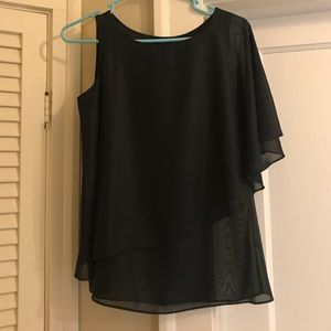 Women's Limited black top with drape sleeve